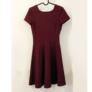 Zara Burgundy Houndstooth Texture Fit Flare Dress